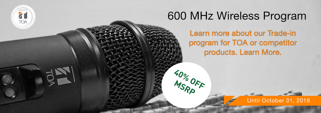 TOA microphone Trade in Program Mhz 600