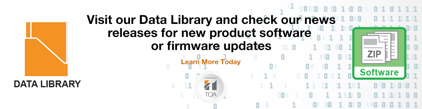 TOA Canada, products, software, firmware, update, data library