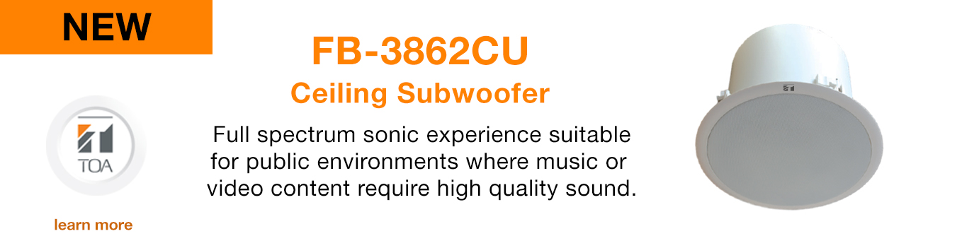 Flush mounted Ceiling subwoofer, FB-3862CU, TOA Canada, speaker