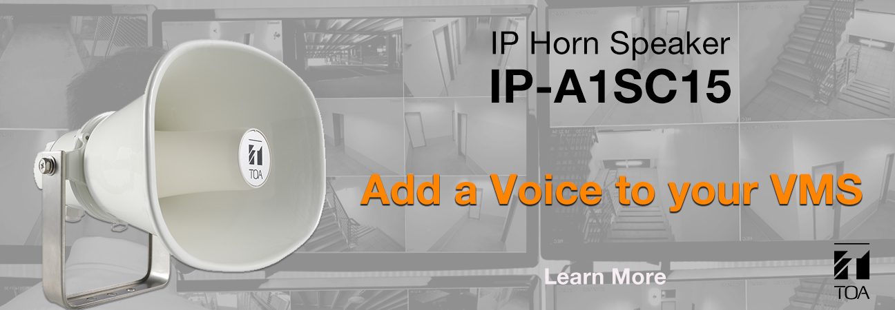 horn speaker, IP horn, pa speaker, public announcement, toa, toa Canada, outdoor horn, VMS, video management system, public address, emergency, talk
