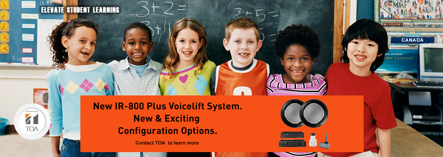School, education, voicelift, classroom audio, IR-800, TOA, TOA canada, sound dispersion, classroom speaker, frontrow, techer mic, juno