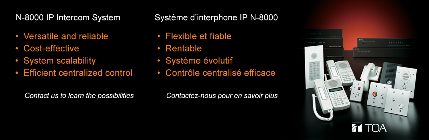 TOA Canada, IP intercom, intercom, SIP, substation, master, exchange, security, trigger, education, school, integration, n-8000, N-SP80, door station, Canada, access control,