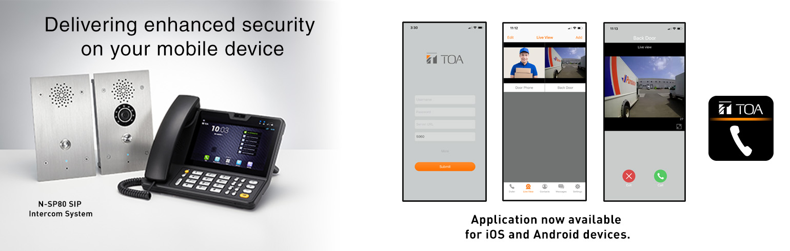TOA Canada, products, N-SP80, android, apple, software, app, application, security, intercom, access control, SIP, SIP intercom, doorstation