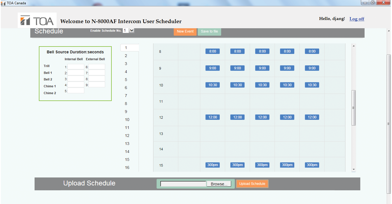 CANASA N-8000SCHED AF Scheduler Software